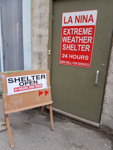 La Nina Cold Weather Shelter Back Door