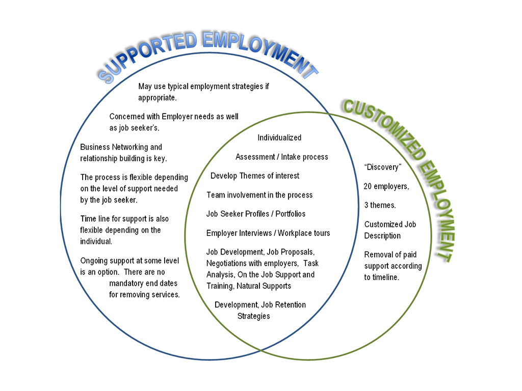 Supported and Customized Employment Chart